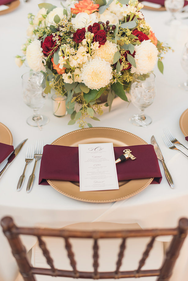 Burgundy and gold wedding place setting - Sun and Sparrow Photography