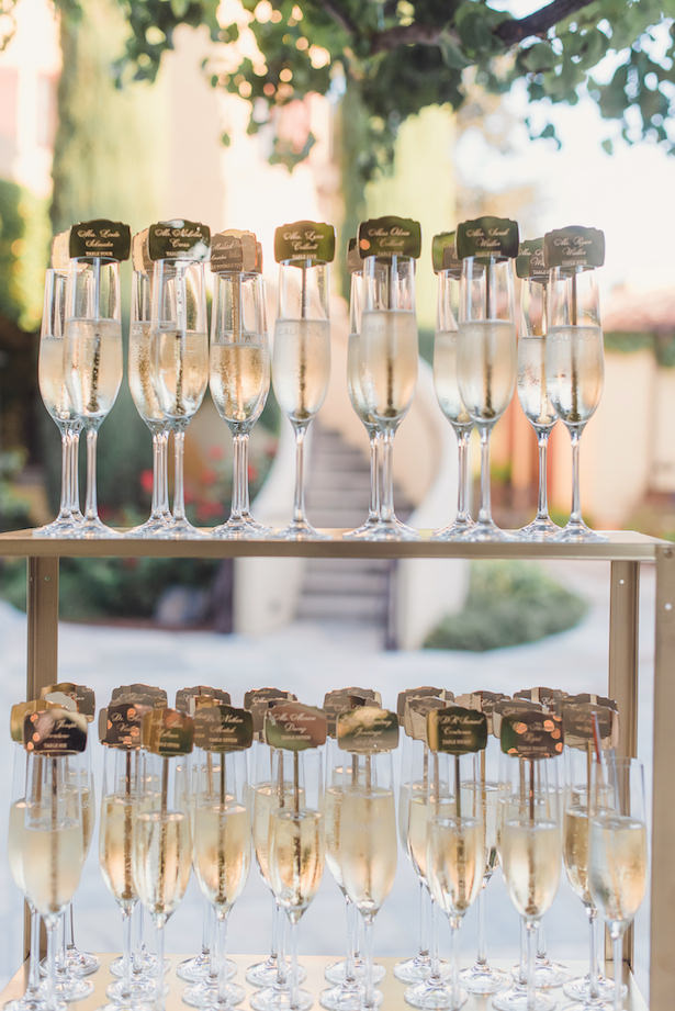 Champagne flutes and escort card display wedding details - Sun and Sparrow Photography