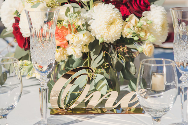 Gold wedding table number - Sun and Sparrow Photography