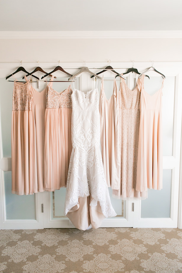 Long rose gold bridesmaid dresses and wedding gown - ARTE DE VIE Photography