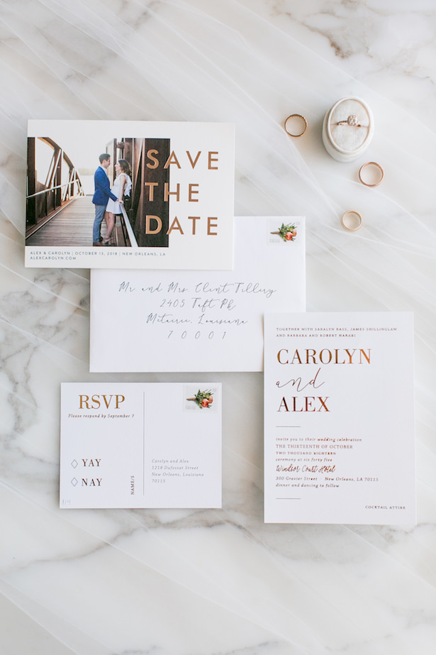 Rose gold and white wedding invitations - ARTE DE VIE Photography