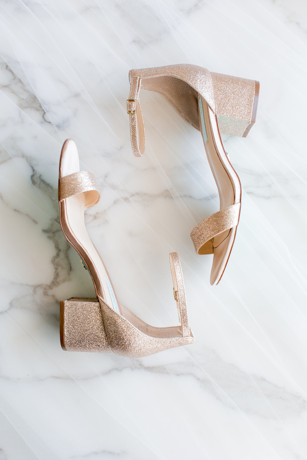 Rose gold metallic glitter wedding shoes - ARTE DE VIE Photography