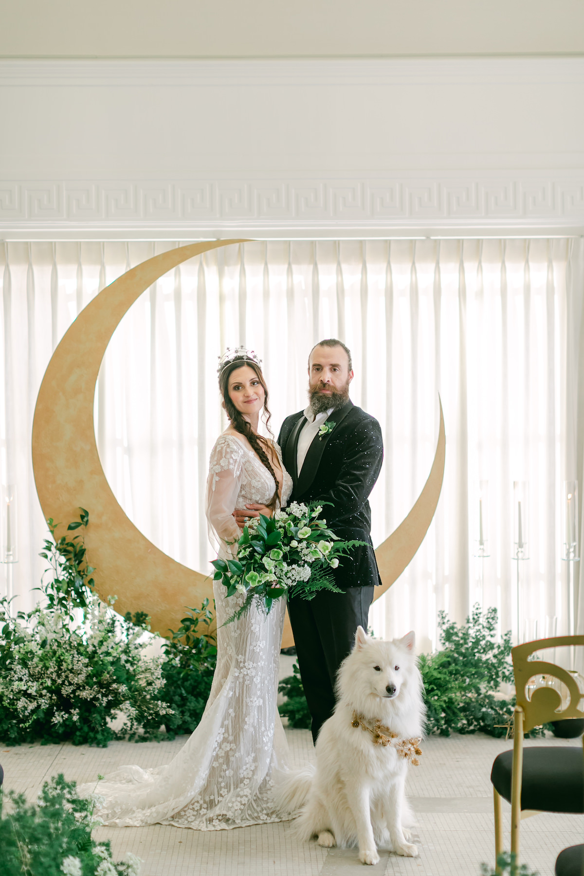 Celestial Wedding with gold moon ceremony installation - Lily Tapia Photography