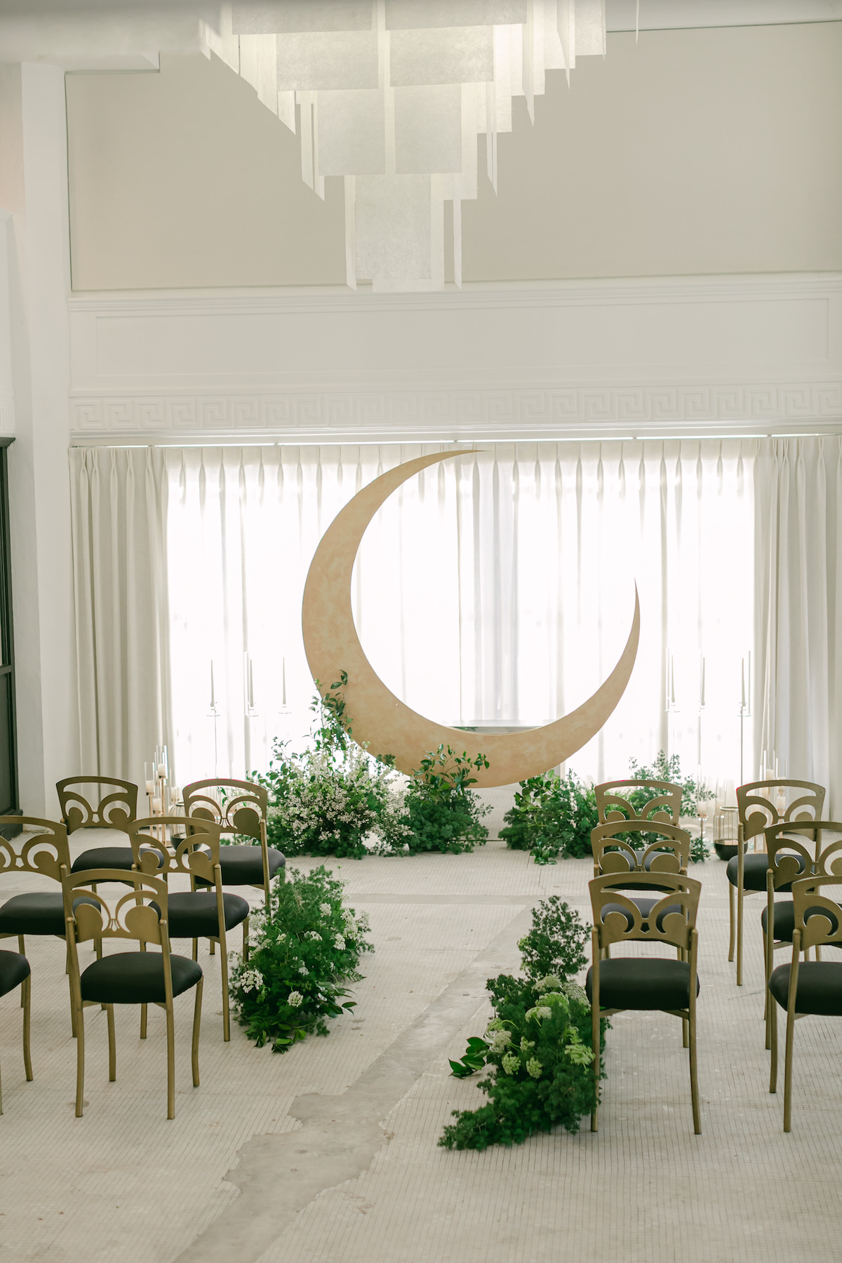 Modern Celestial Wedding Ceremony with Moon arch - Lily Tapia Photography