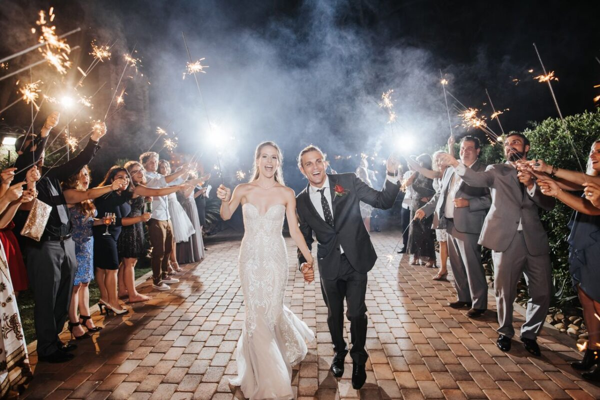 Wedding exit photo with sparklers - Photography: Dmitry Shumanev