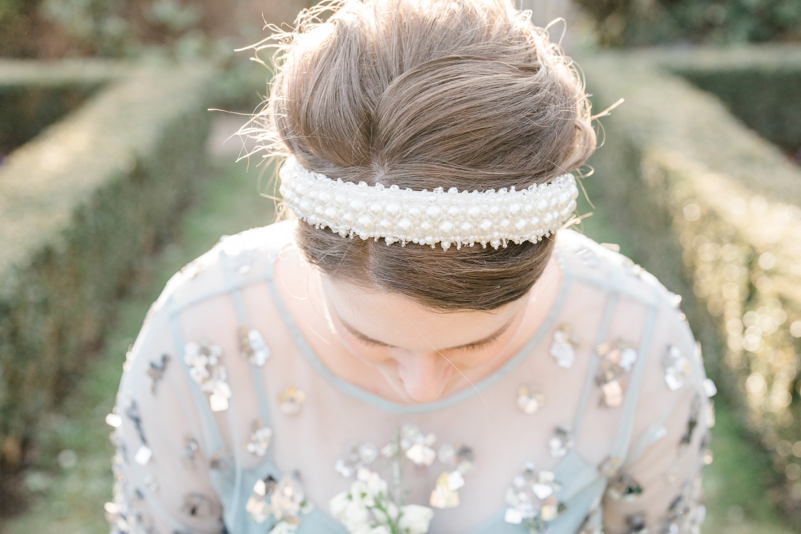 Bridal headband with pearls - Kelsie Scully Photography