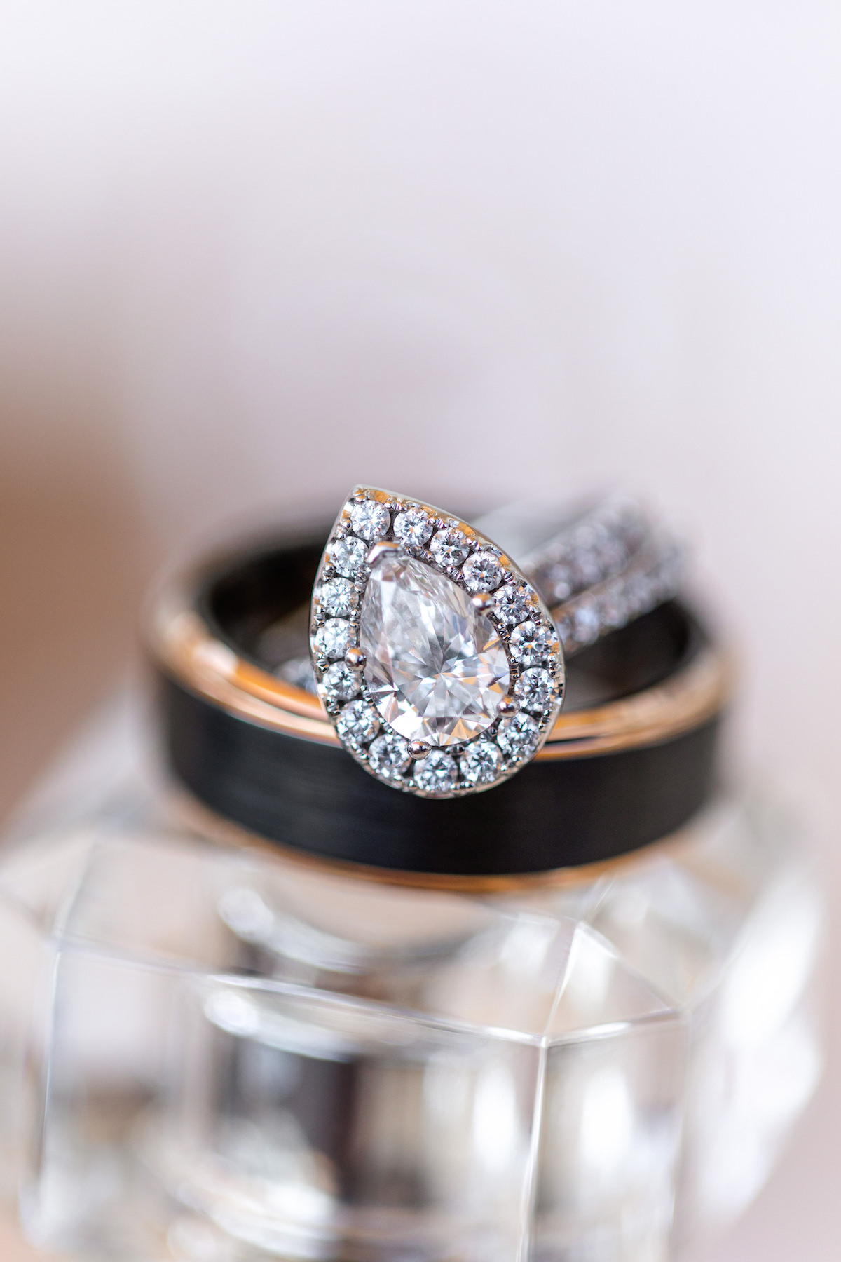 Diamond engagement ring with pear shape stone and halo - Holly Sigafoos Photo