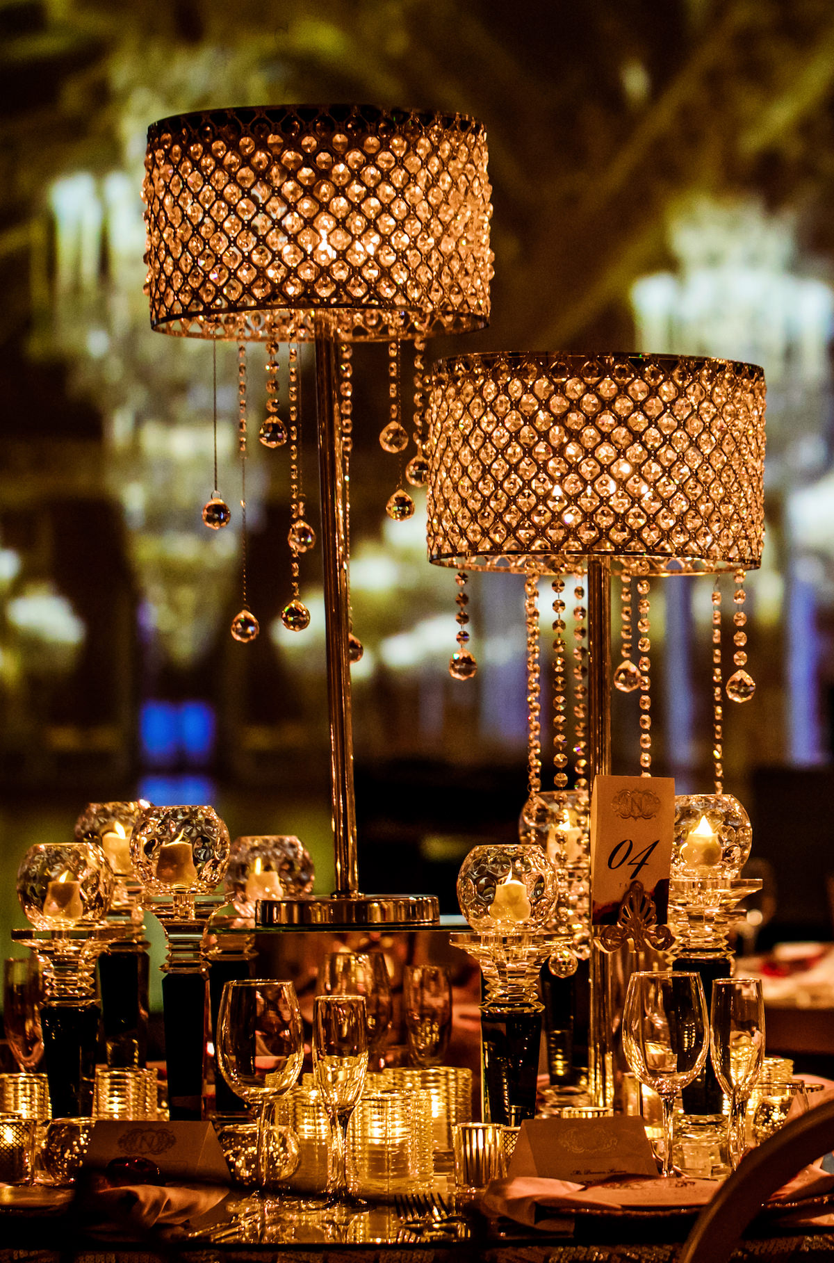 Glamorous Non Floral Wedding centerpiece with lamps - Nadia D Photo