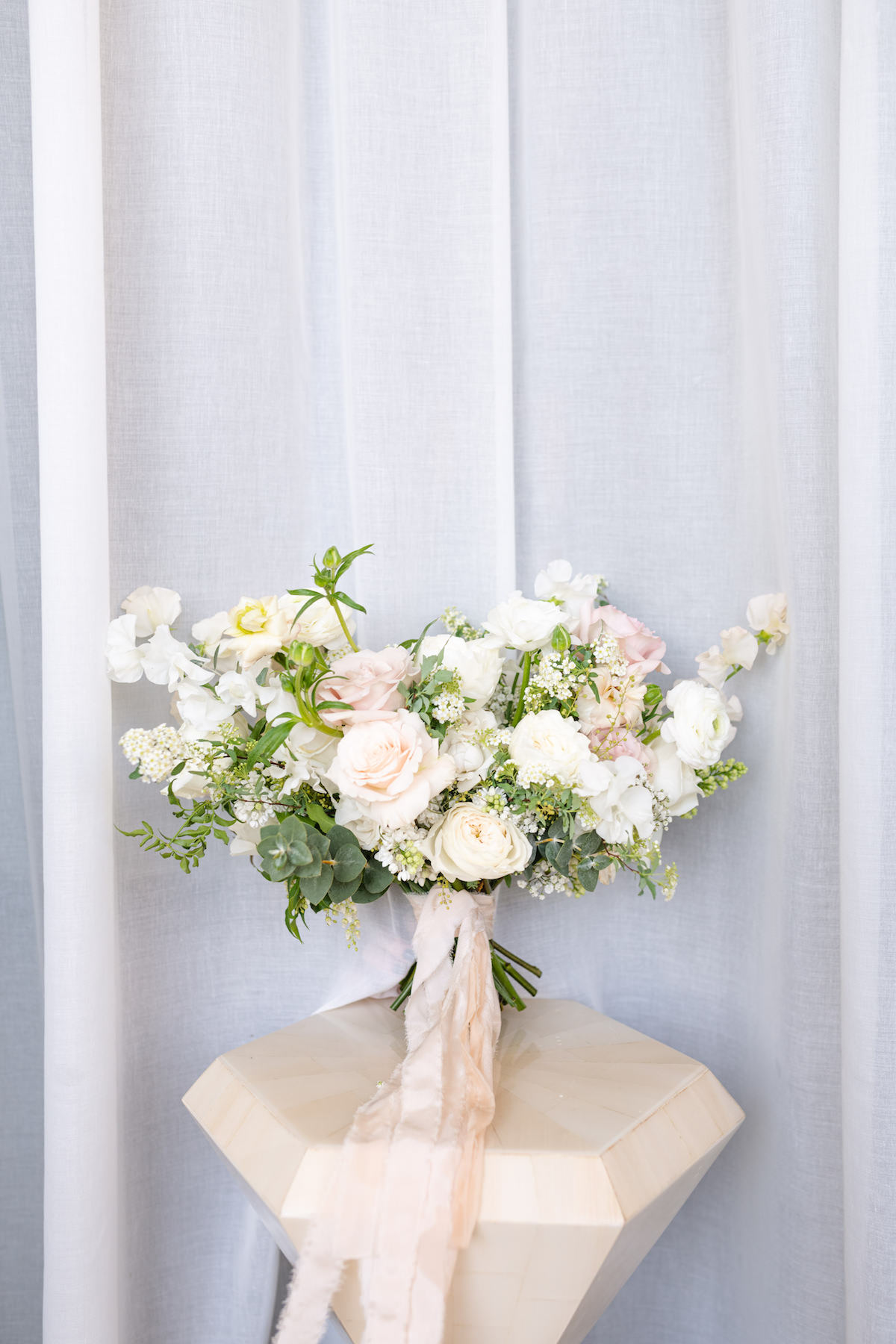 Romantic spring wedding bouquet with white flowers and roses - Holly Sigafoos Photo