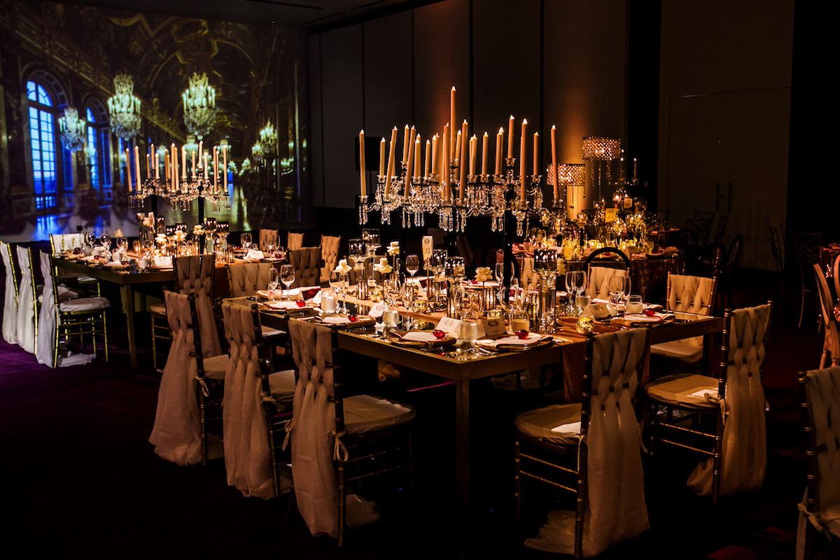 Tablescape with candelabra centerpiece - Nadia D Photo