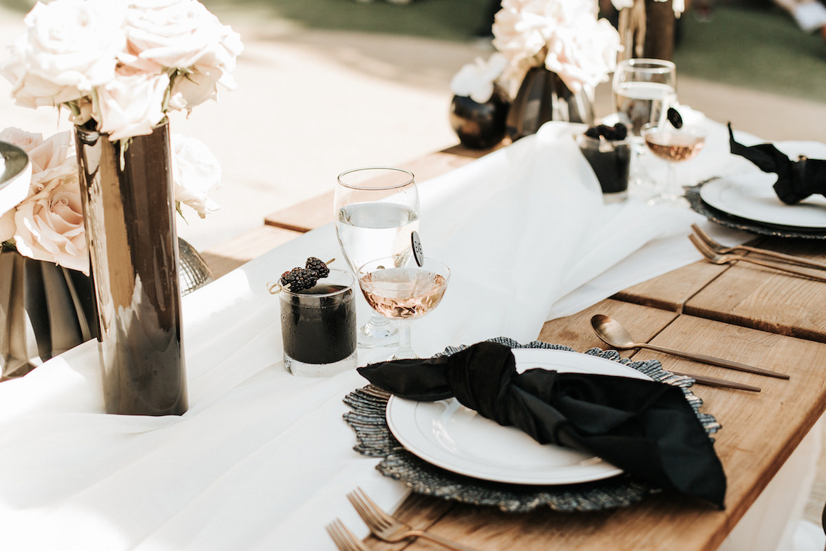 Black and white place settings - Sydney Bliss Photography