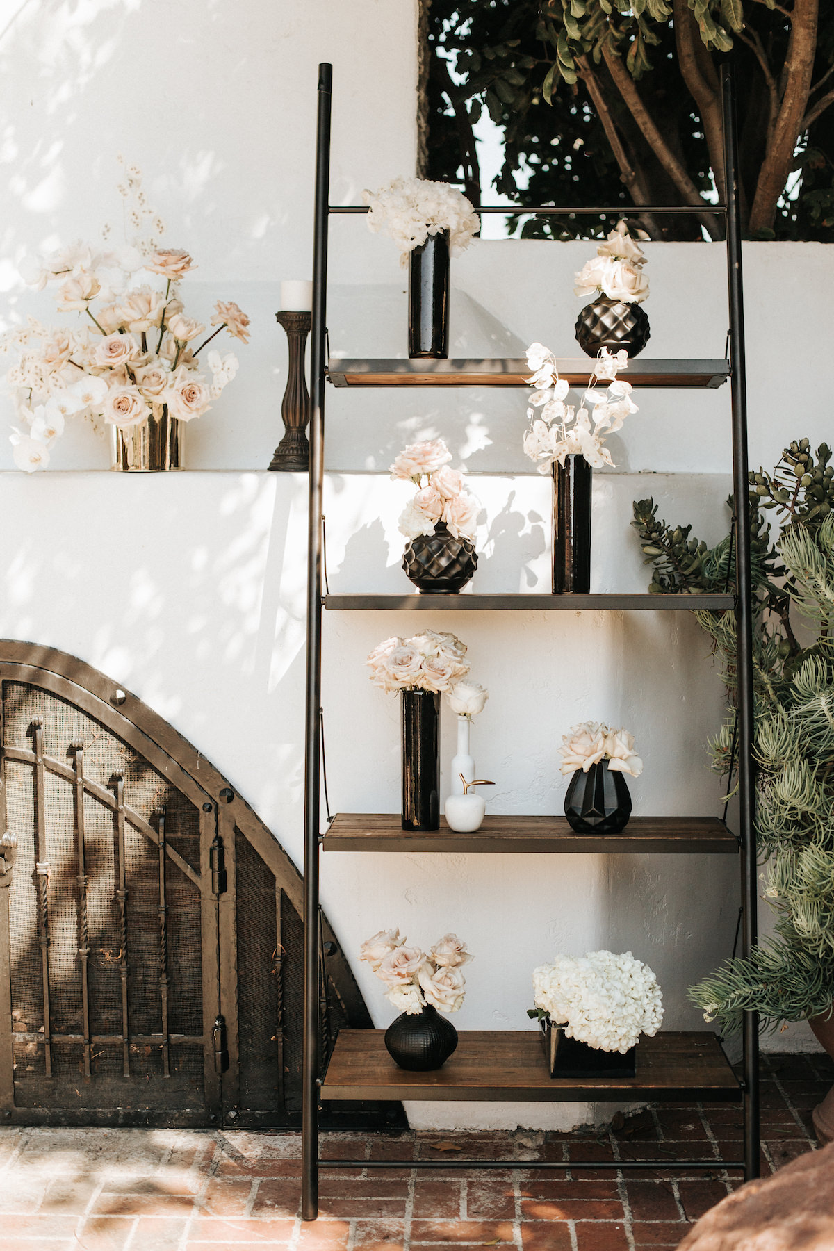 Black and white wedding ceremony flowers and decor - Sydney Bliss Photography