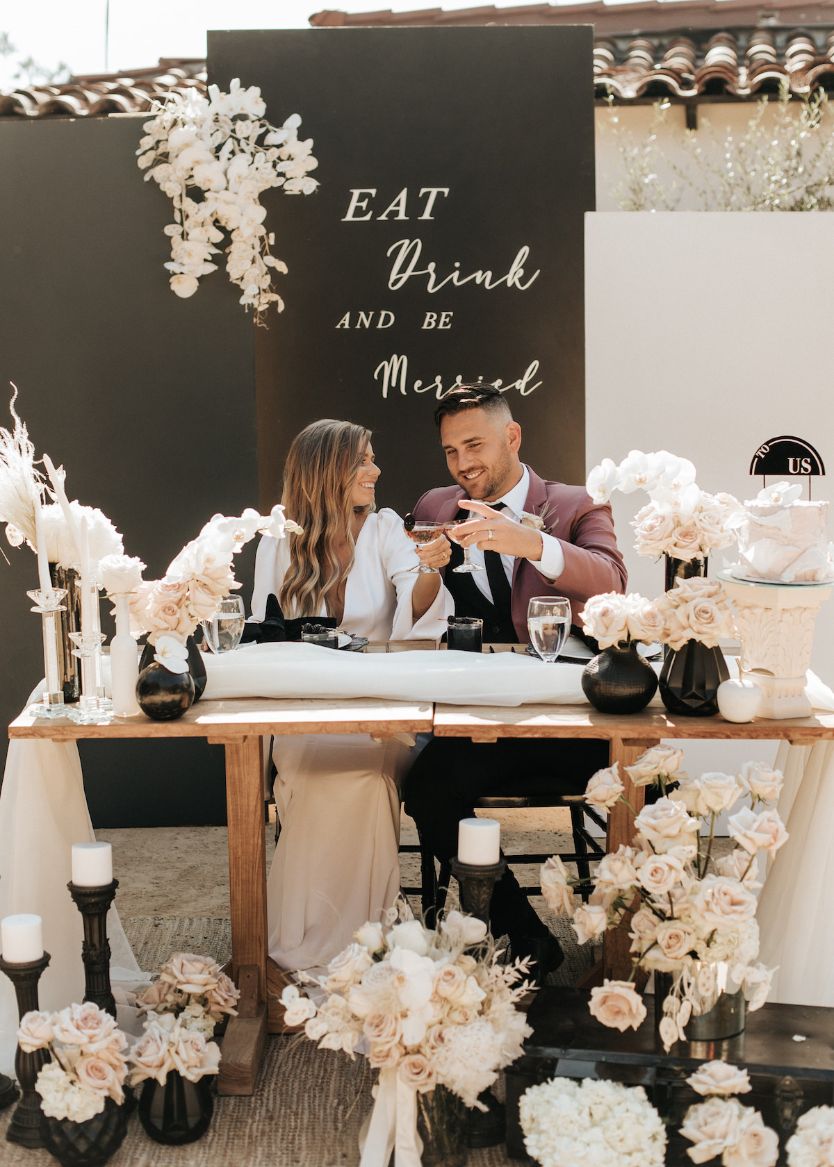 Black and white wedding sweetheart table decor - Sydney Bliss Photography
