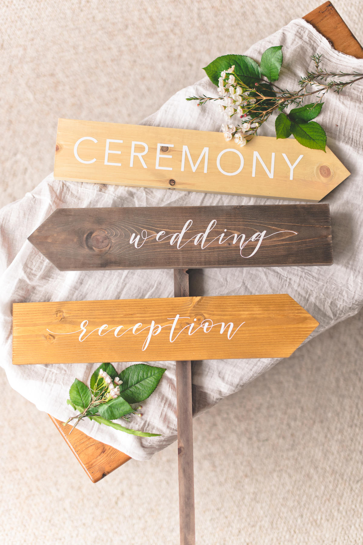 Directional Wood Wedding Signs