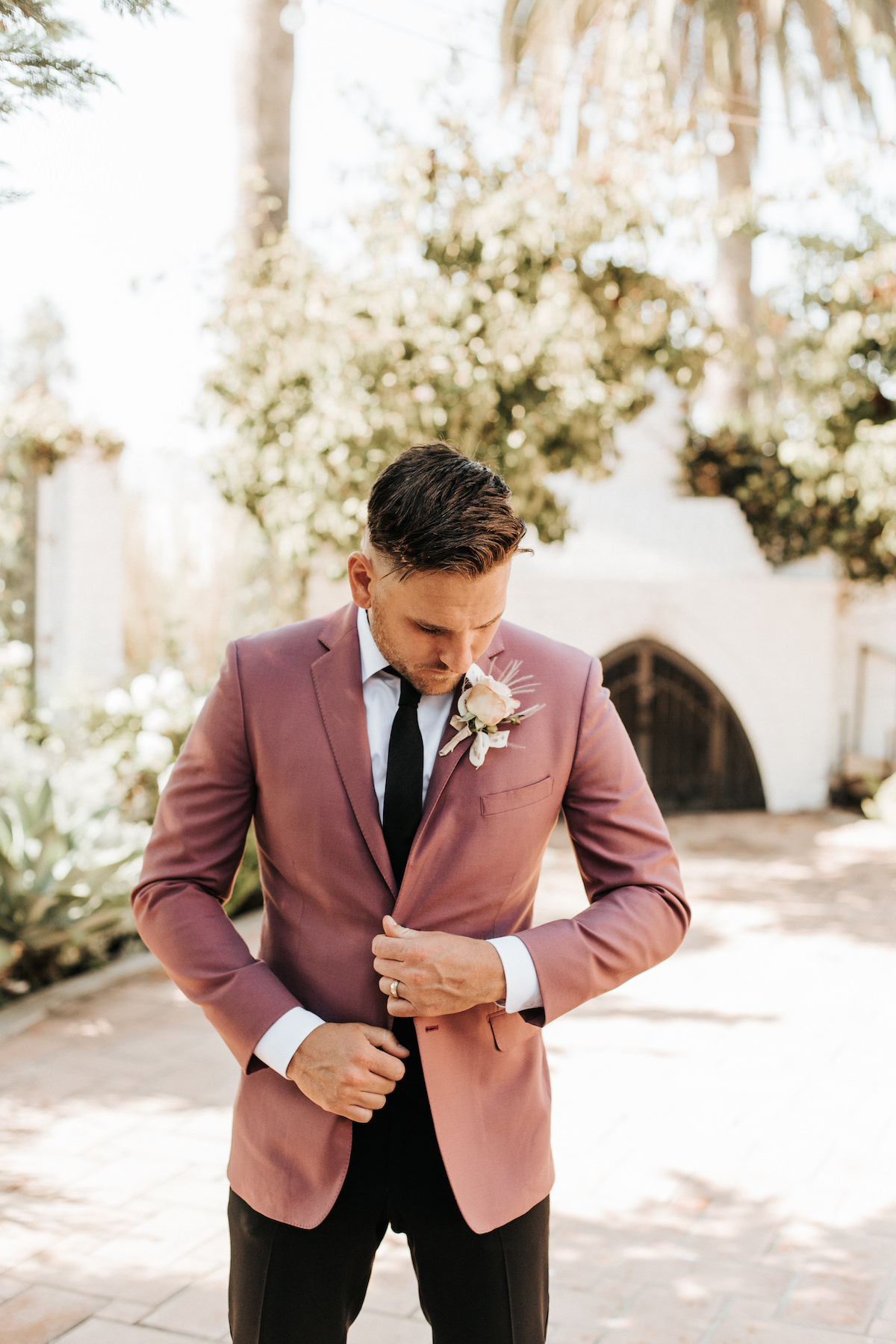 Groom style with pink suit jacket - Sydney Bliss Photography