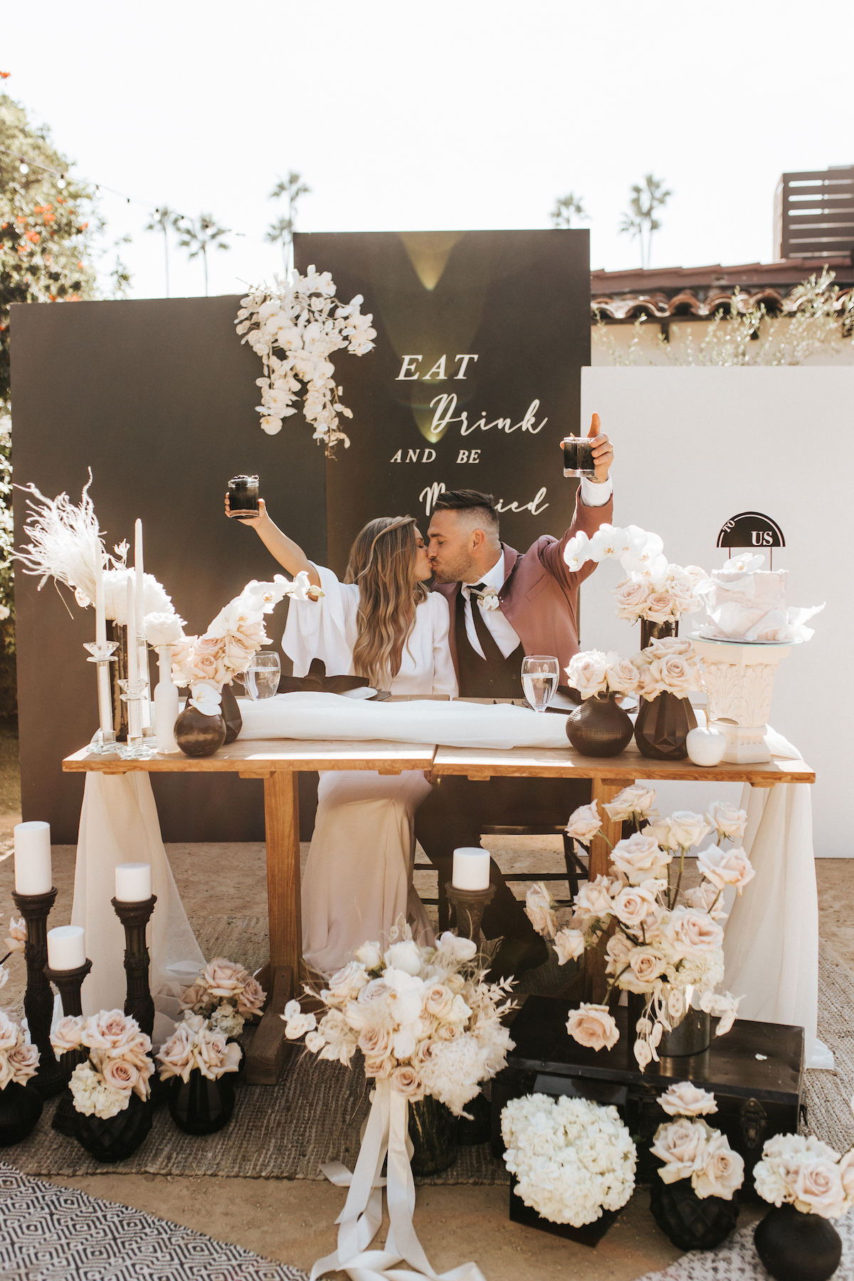 Modern black and white wedding sweetheart table and toast - Sydney Bliss Photography