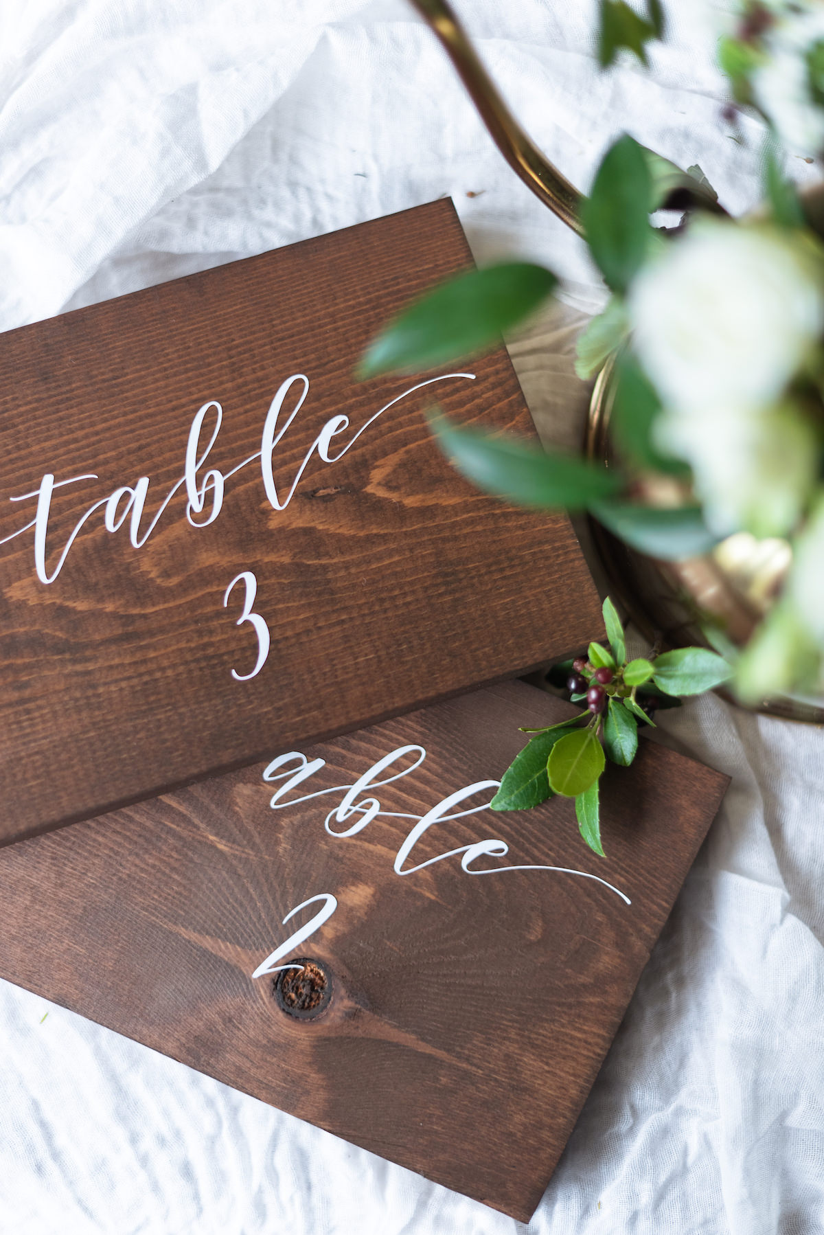Romantic Wood Table Numbers