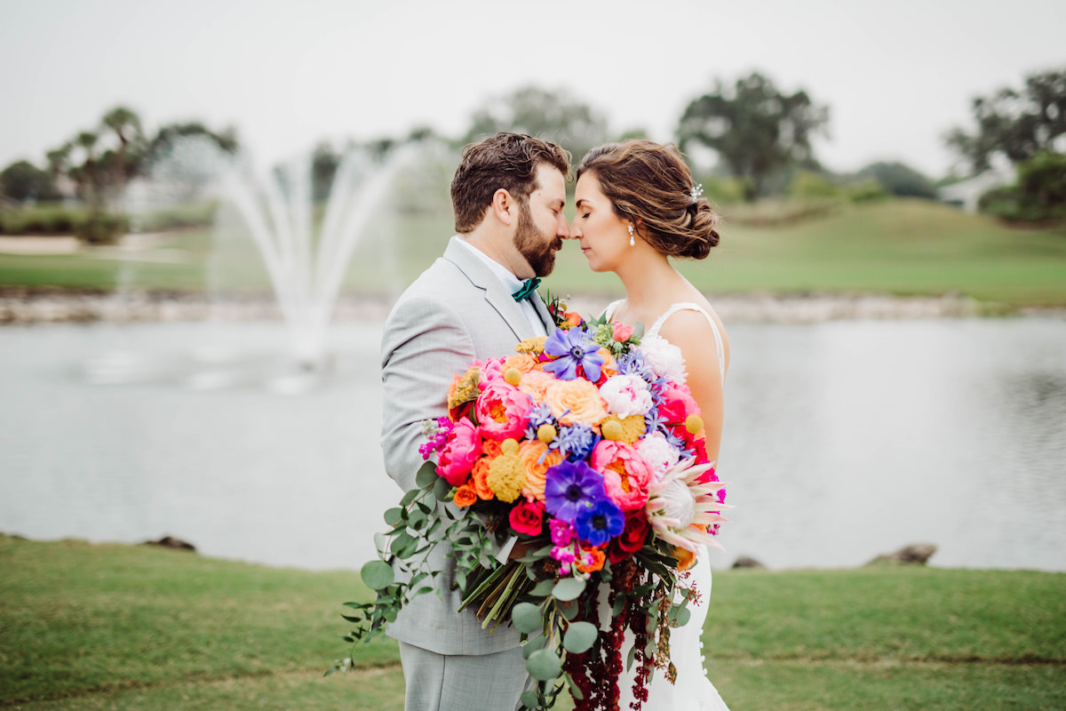 Colorful oversized wedding bouquet - Bohemian Road Photography