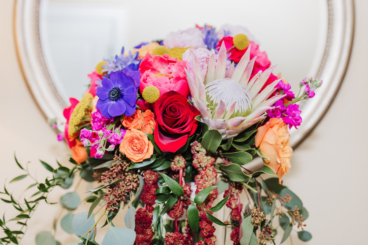 Colorful wedding bouquet - Bohemian Road Photography