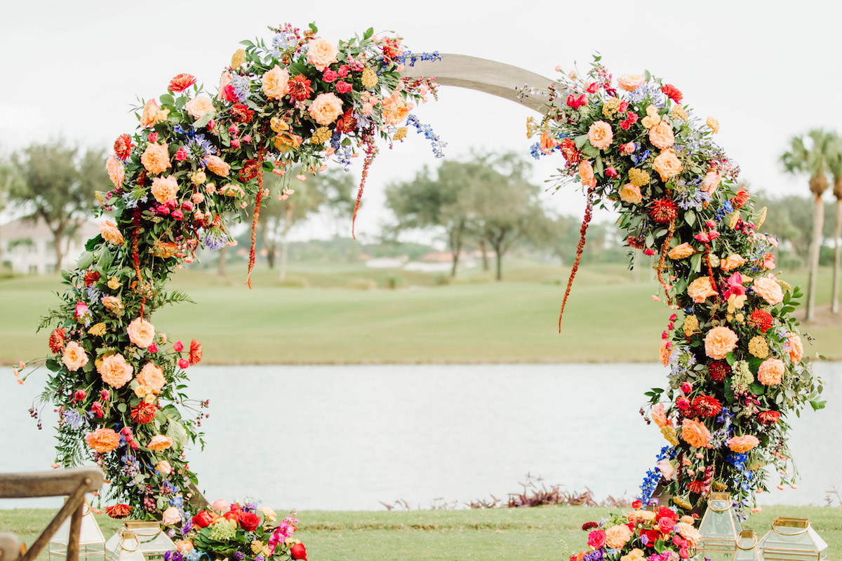 Colorful Floral Wedding Ceremony Arch - Bohemian Road Photography