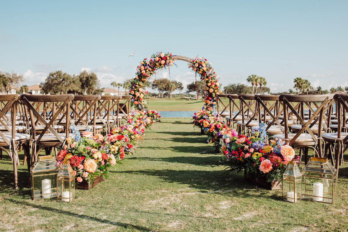 Colorful Outdoor Wedding Ceremony Decor - Bohemian Road Photography