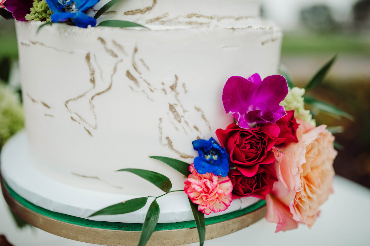 Colorful wedding cake flowers - Bohemian Road Photography