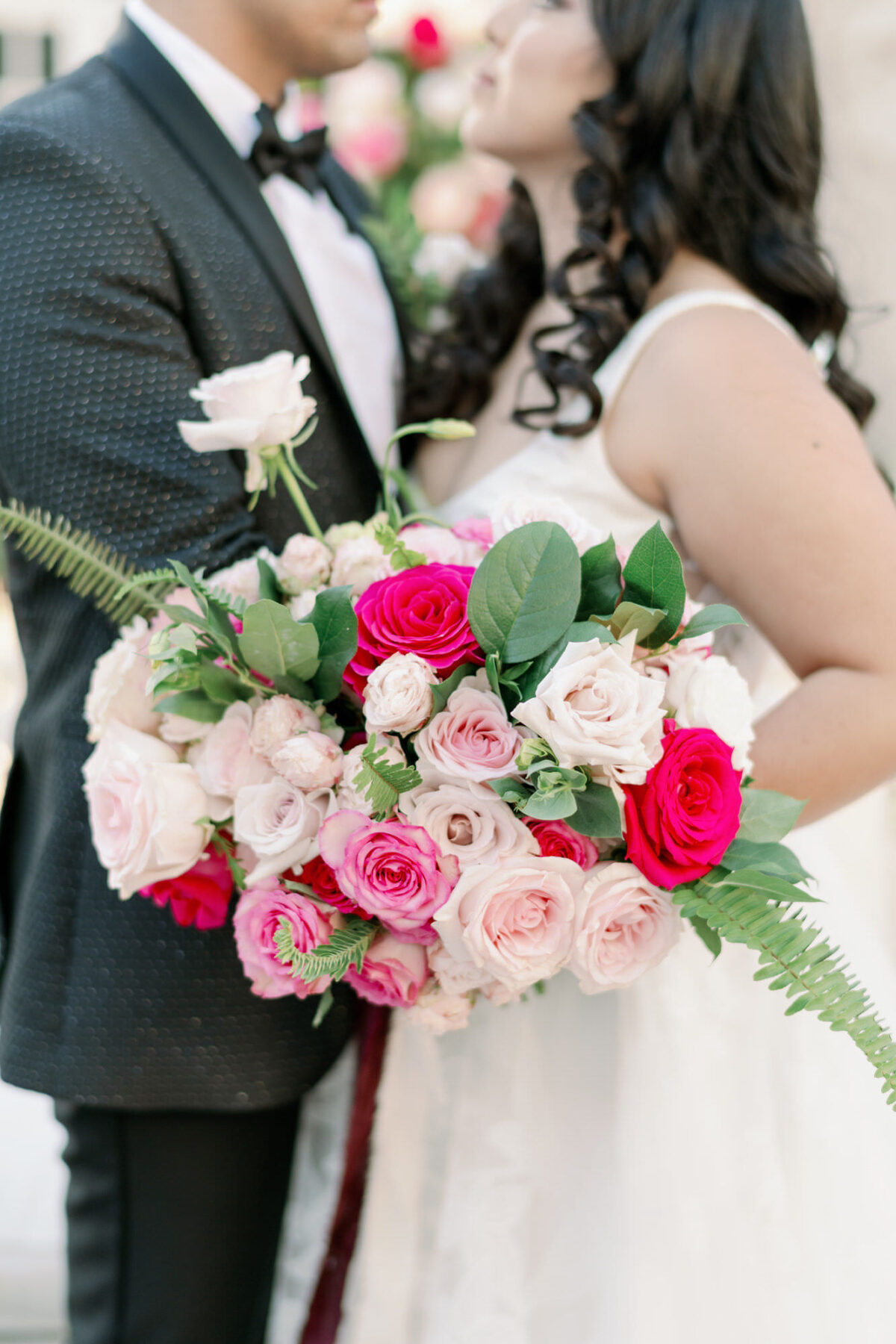 Pink classic wedding bouquet with roses - Peony Park Photography