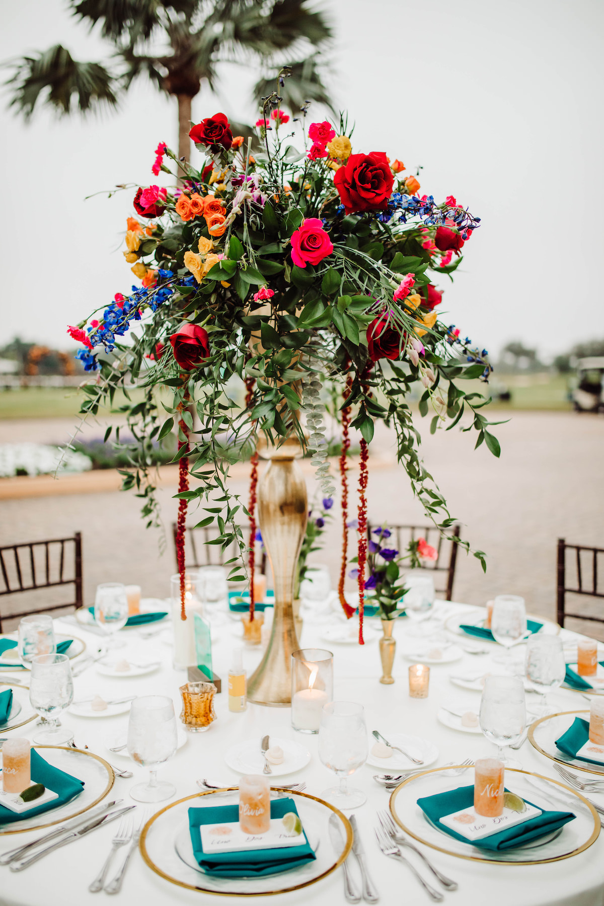 Tall colorful wedding centerpiece - Bohemian Road Photography