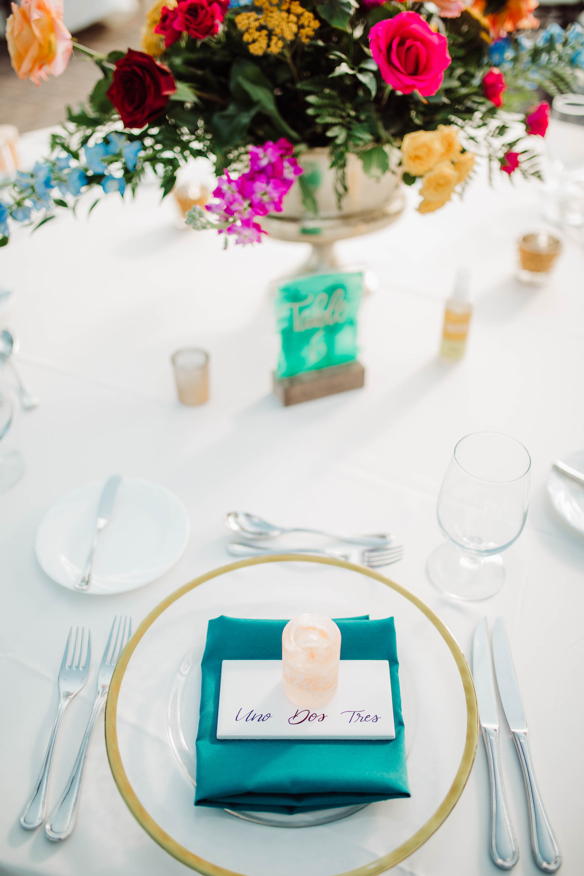 Teal Wedding place setting - Bohemian Road Photography