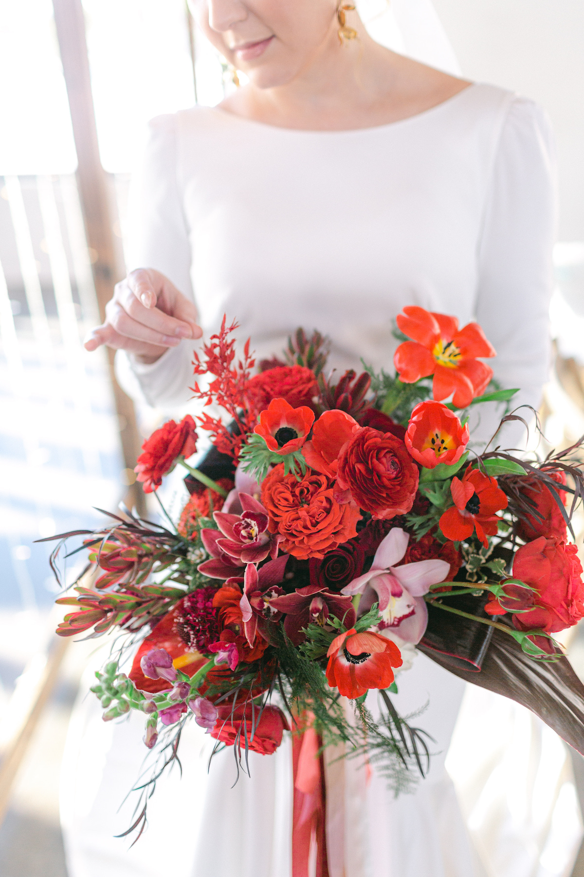 Winter Wedding bouquet with red flowers - 5th Fine Art Photography