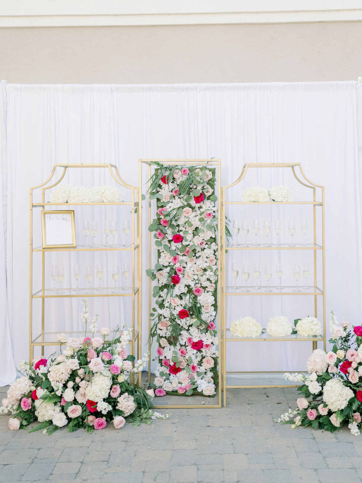 Wedding champagne display for wedding reception - Peony Park Photography