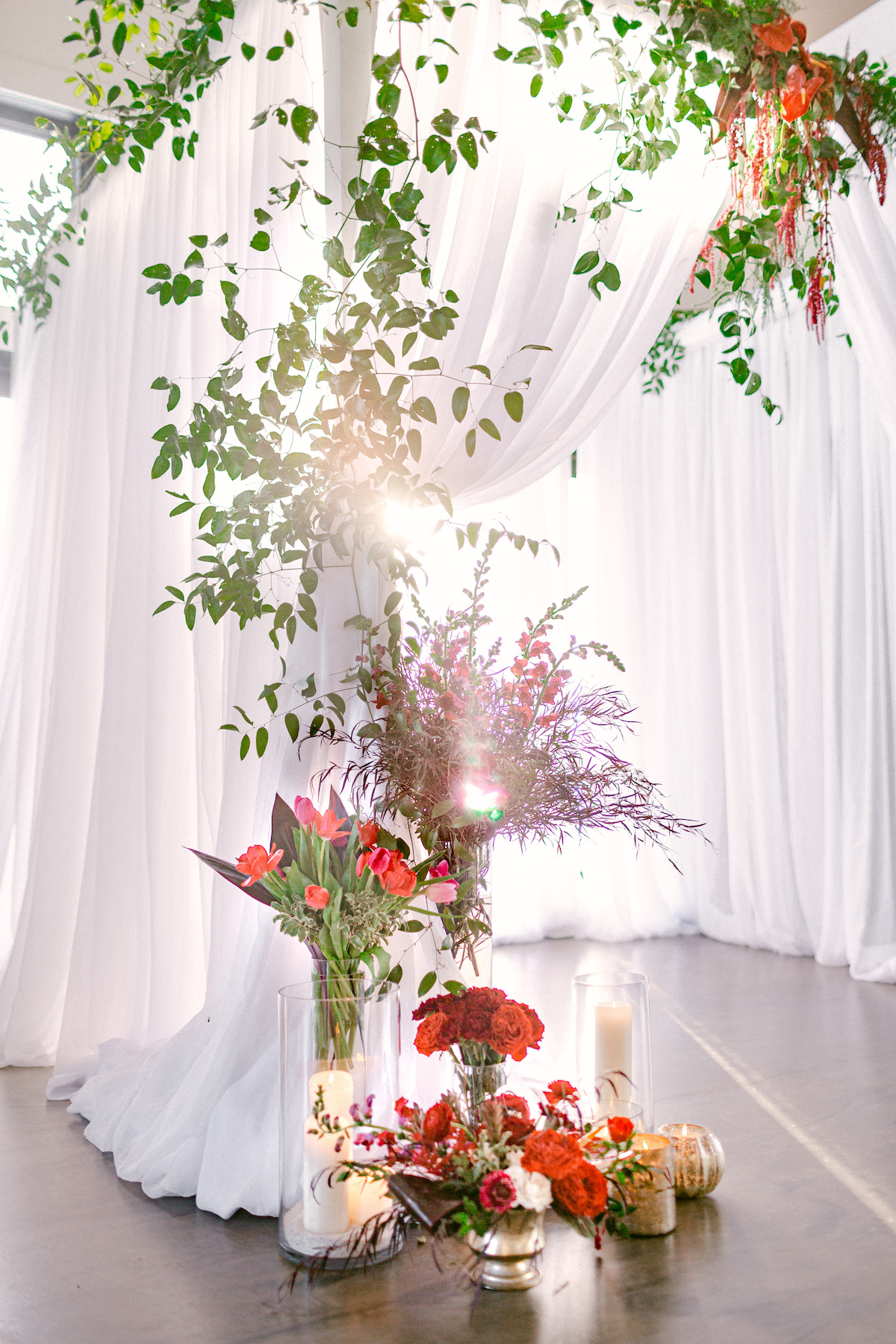 Winter red wedding decorations and ceremony flowers - 5th Fine Art Photography