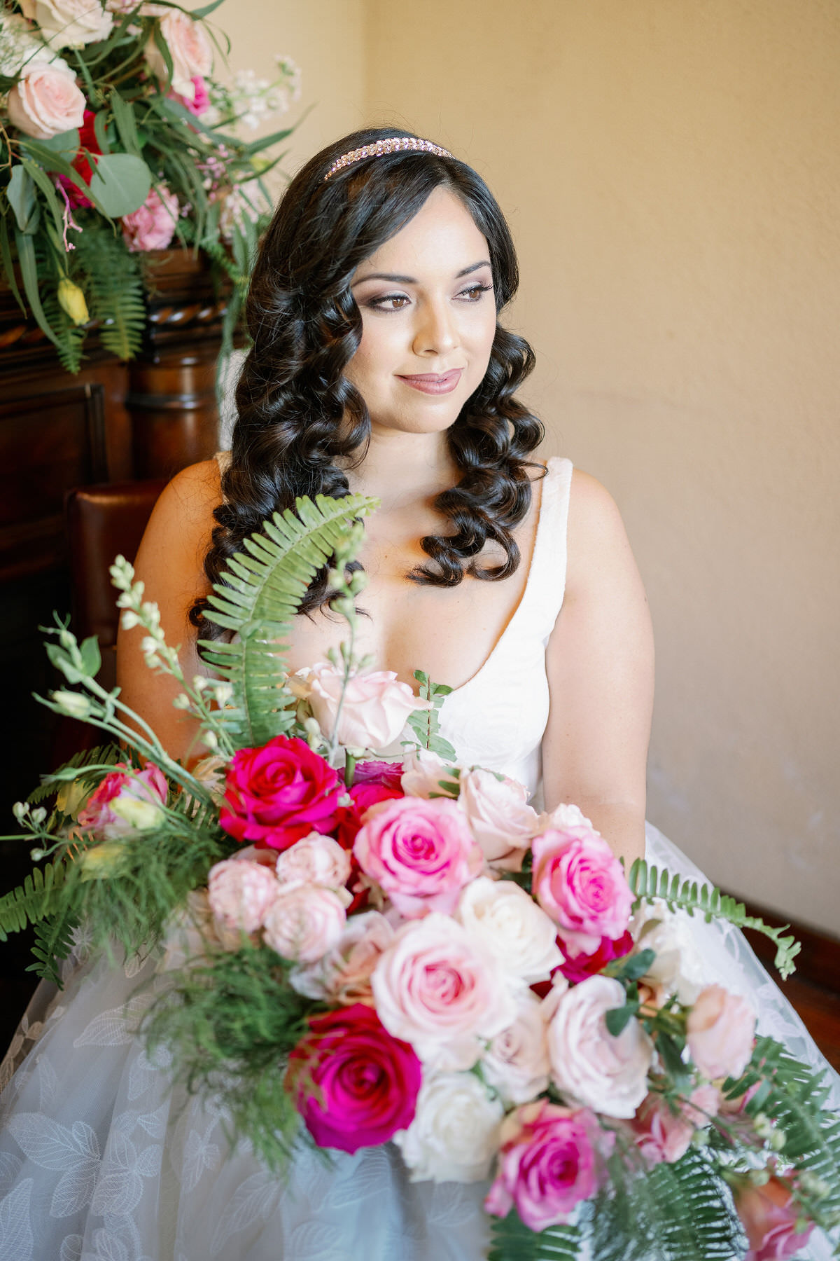 pink wedding bouquet with roses - Peony Park Photography