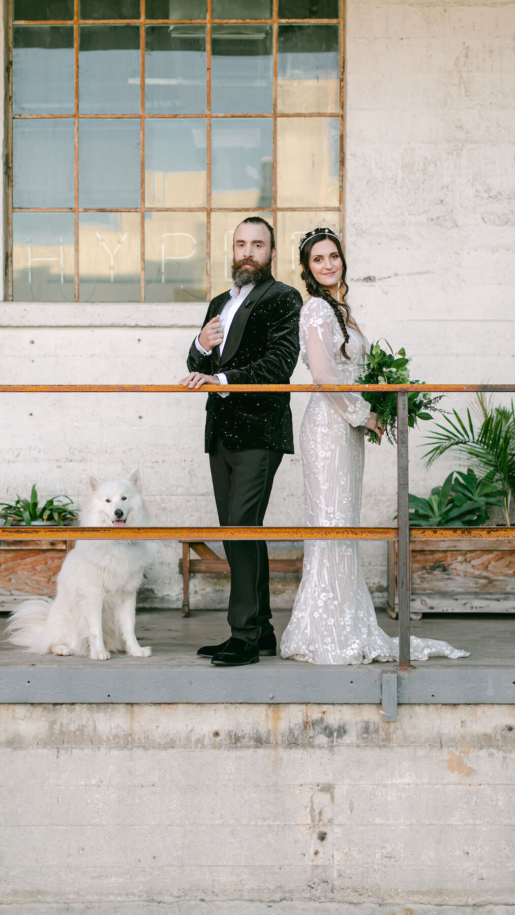 Bride and groom industrical wedding photo - Lily Tapia Photography