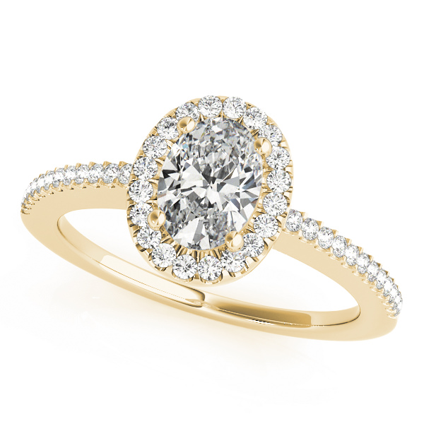 Lab Grown Diamond Engagement Ring by LovBe - Gold Halo Vintage