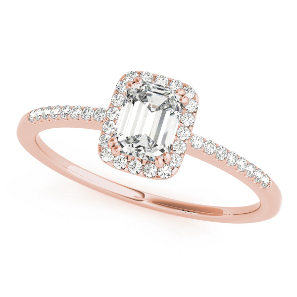 Lab Grown Diamond Engagement Ring by LovBe - Rose Gold Emerald Cut Halo
