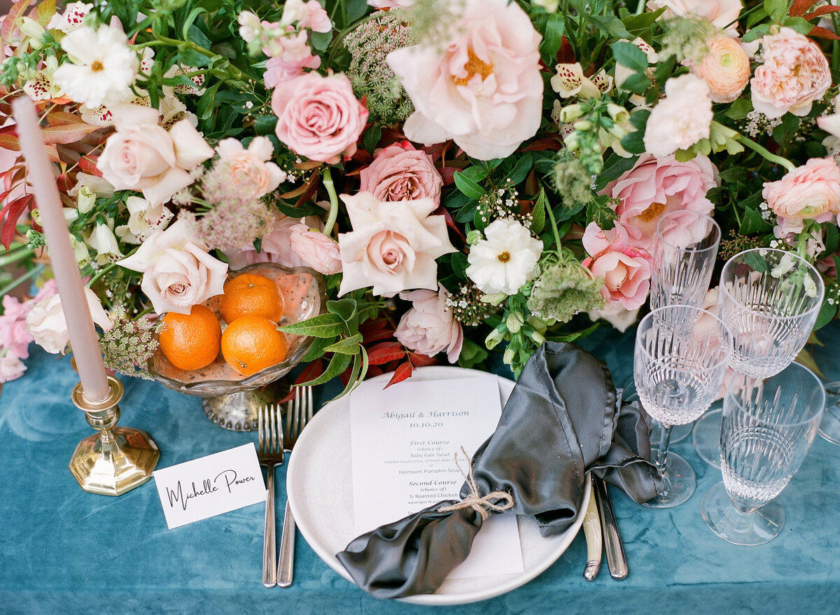 Romantic wedding centerpiece and place setting- Book Simply Elegant by Diana